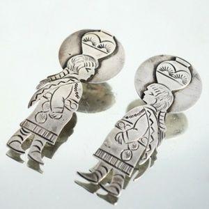 Native American Maiden Sterling Silver Earrings